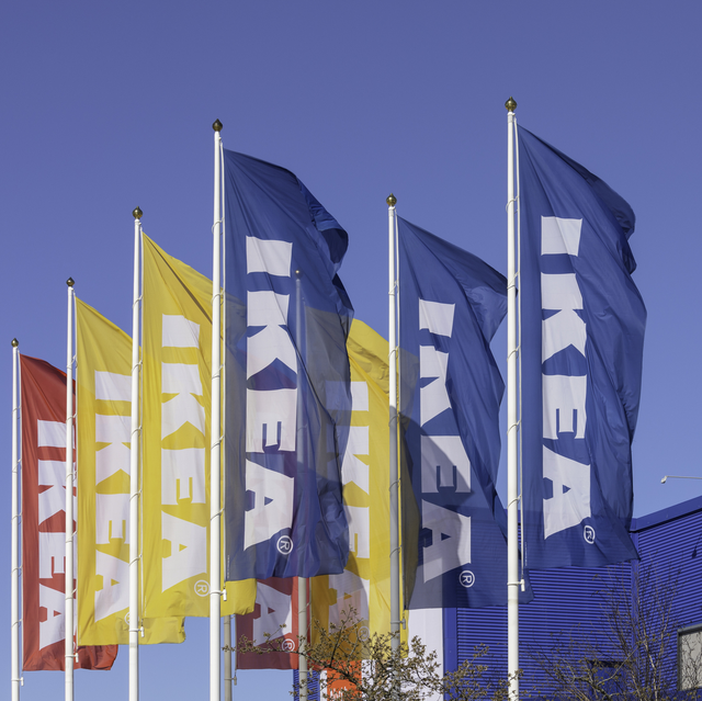 flags outside the ikea store in barkarby outside stockholm, sweden