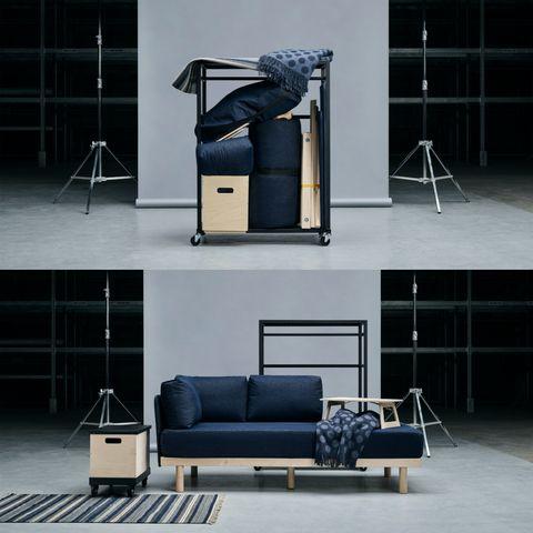 Furniture, Couch, Room, Design, Automotive design, Interior design, Stage, Architecture, Floor, Metal,