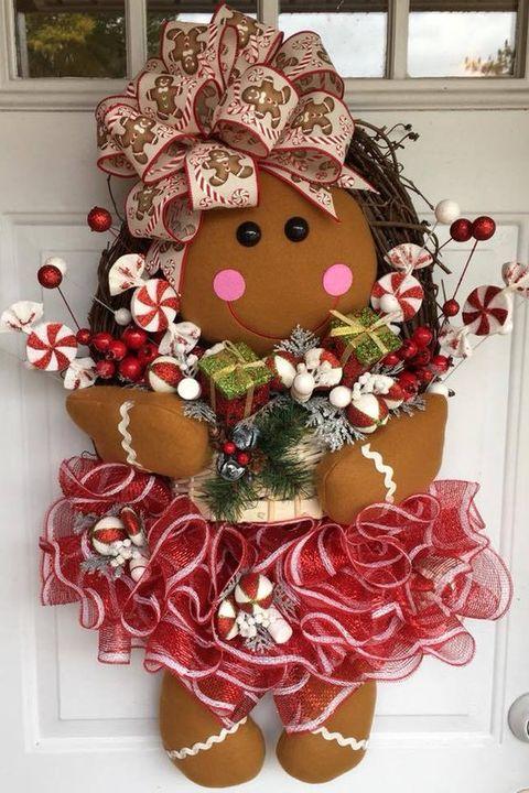 Christmas Door Decorations Gingerbread Wreath