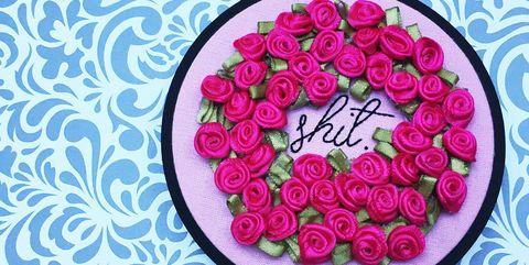 Pink, Magenta, Flower, Plant, Pattern, Font, Rose, Cut flowers, Petal, Floral design,