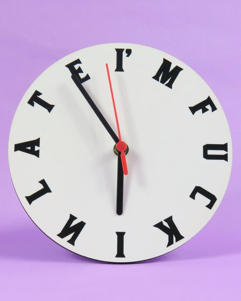 Clock, Wall clock, Pink, Alarm clock, Analog watch, Font, Home accessories, Number, Furniture, Material property,