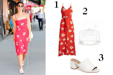 White, Clothing, Red, Dress, Fashion, Pink, Fashion model, Footwear, Pattern, Polka dot,