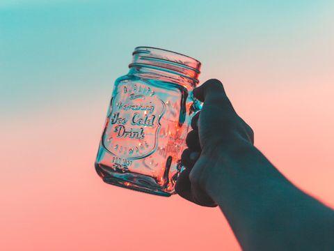 Mason jar, Water, Bottle, Hand, Finger, Drink, Liquid, Fluid, Water bottle, Drinkware,