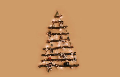 illuminated christmas tree on wall