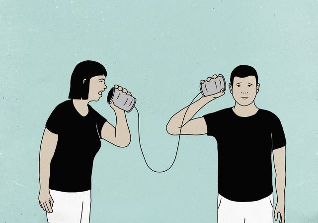 illustration of couple communicating through tin can phones against colored background