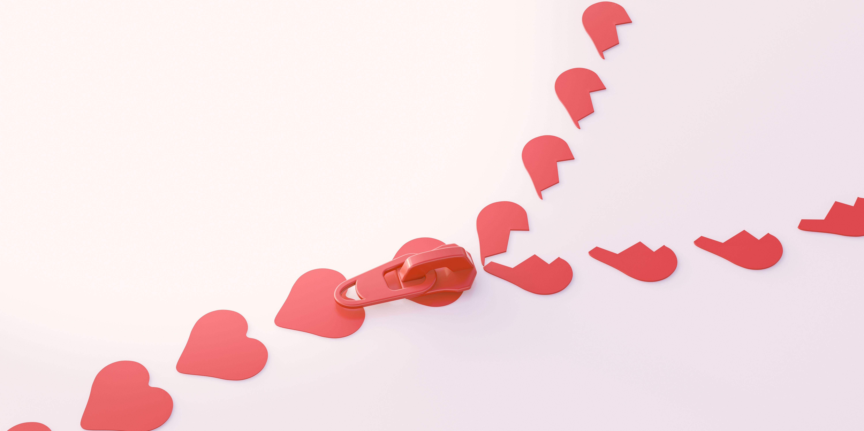 3D Illustration, zipper, heart shape symbols