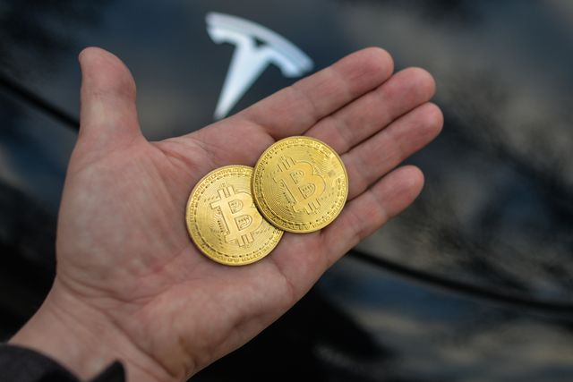 tesla and bitcoin stock pictures