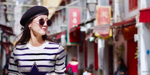 Clothing, White, Street fashion, Photograph, Shoulder, Red, Fashion, Eyewear, Pink, Beauty,
