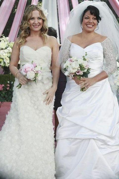 Gown, Wedding dress, Bride, Dress, Bridal clothing, Clothing, Photograph, Bridal party dress, Shoulder, Bridal accessory,