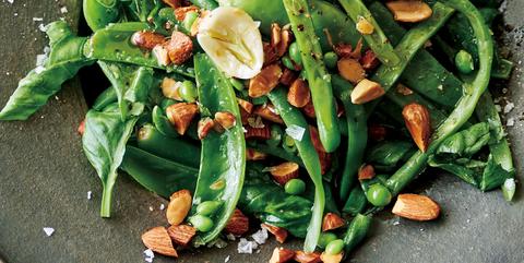 春豆とアーモンドのバジルマリネ