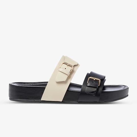dune loren 黑白皮革拖鞋
