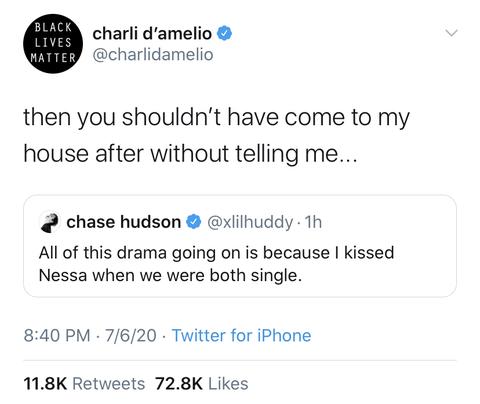 chase hudson charli d'amelio drama