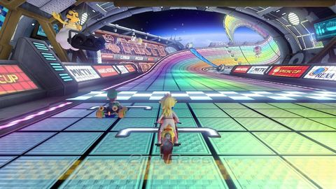 brie larson's luigi and my peach at the start of what would've been our second race on mario kart 8's rainbow road