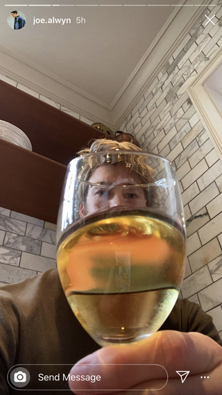 joe alwyn with a glass of wine