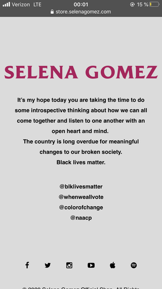 selena gomez's site on black out tuesday