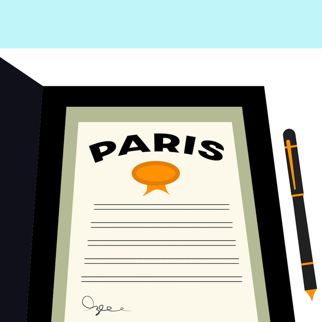 an illustration of the paris climate agreement with a signature at the bottom