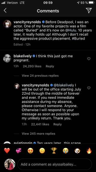 reynolds' and lively's instagram exchange