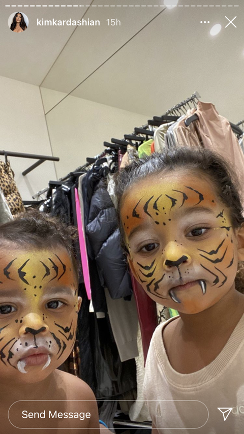 kim's kids in tiger makeup