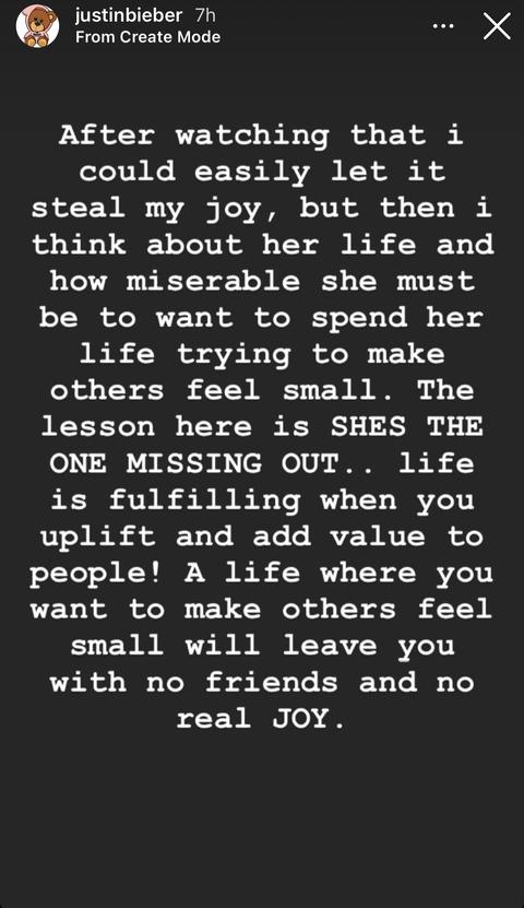 instagram story justin bieber