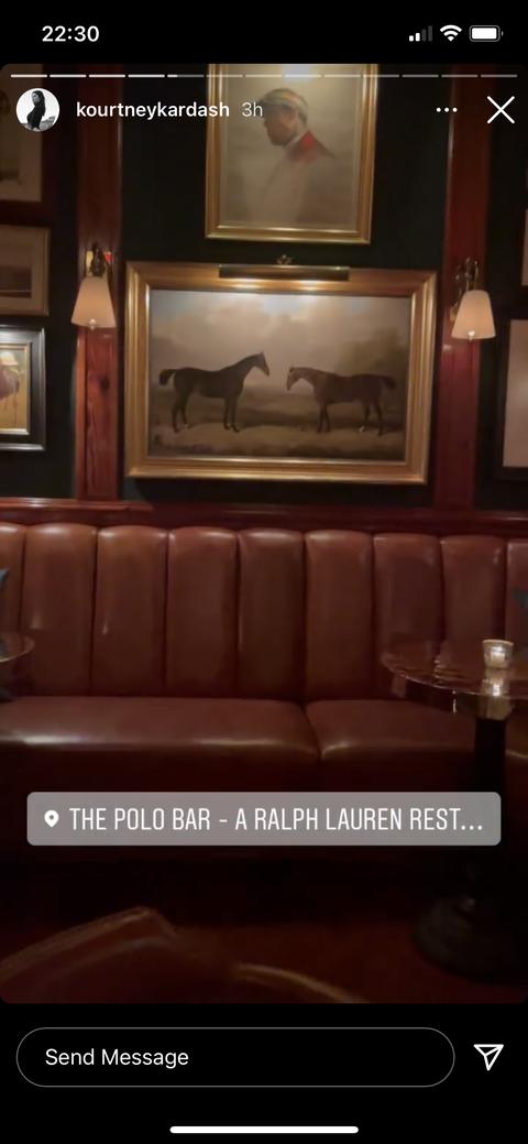 kourtney kardashian and travis barker at polo bar