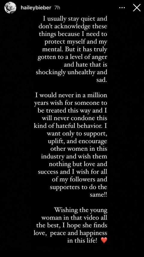 hailey bieber instagram story