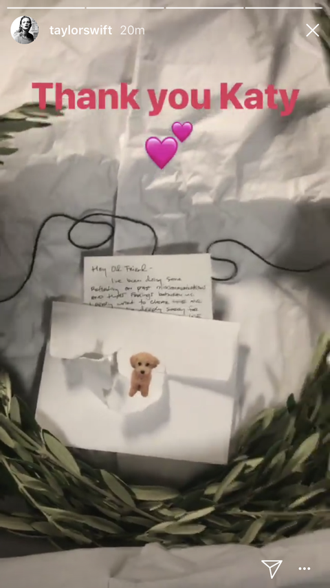 Taylor Swift sharing Katy Perry's olive wreath