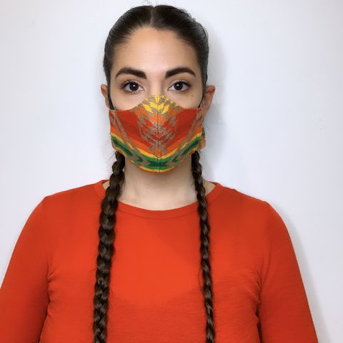 indigenous designer korina emmerich models her split shot facemask originally designed as a part of the emme anadromous fall collection in 2019