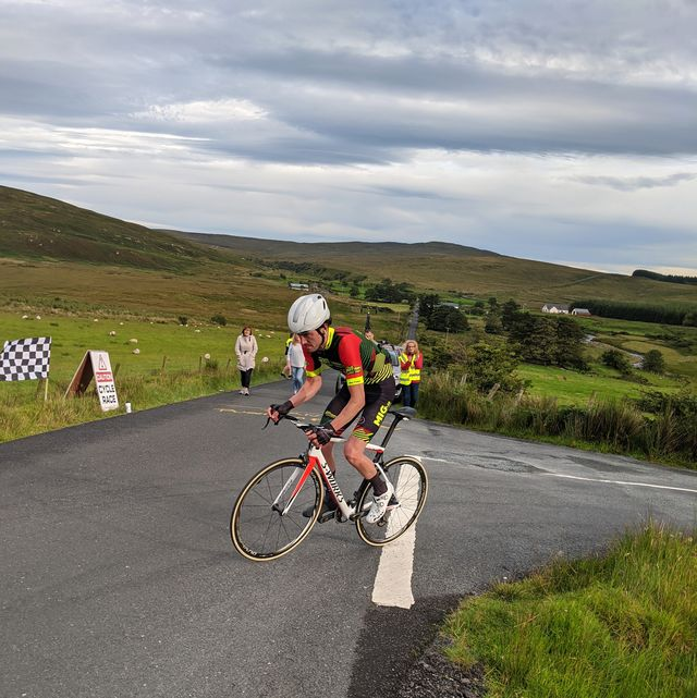 ronan mclaughlin riding up mamore gap during his second everesting attempt