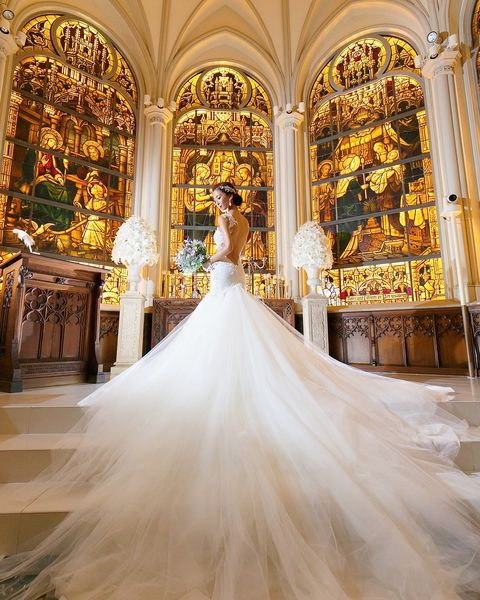 Dress, Gown, Wedding dress, Photograph, Clothing, Bride, Bridal clothing, Floor, Chapel, Ballroom,