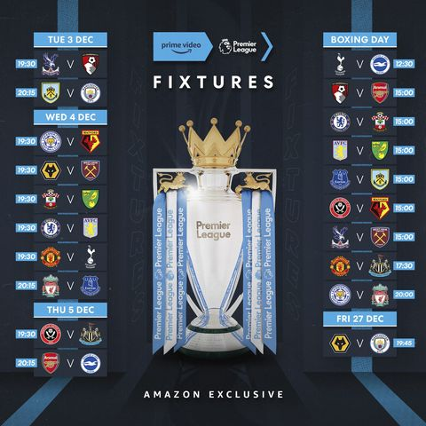 Amazon prime Video Premier League Fixtures