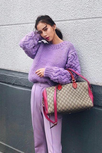 Clothing, Purple, Pink, Sweater, Magenta, Outerwear, Textile, Knitting, Street fashion, Wool,
