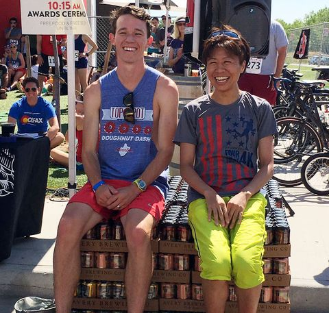 Two runners on top of beer