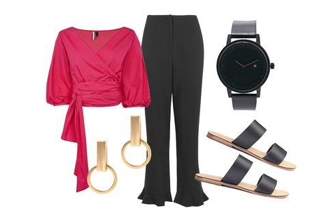 Clothing, Pink, Fashion, Footwear, Belt, Outerwear, Dress, Jeans, Trousers, Fashion accessory,