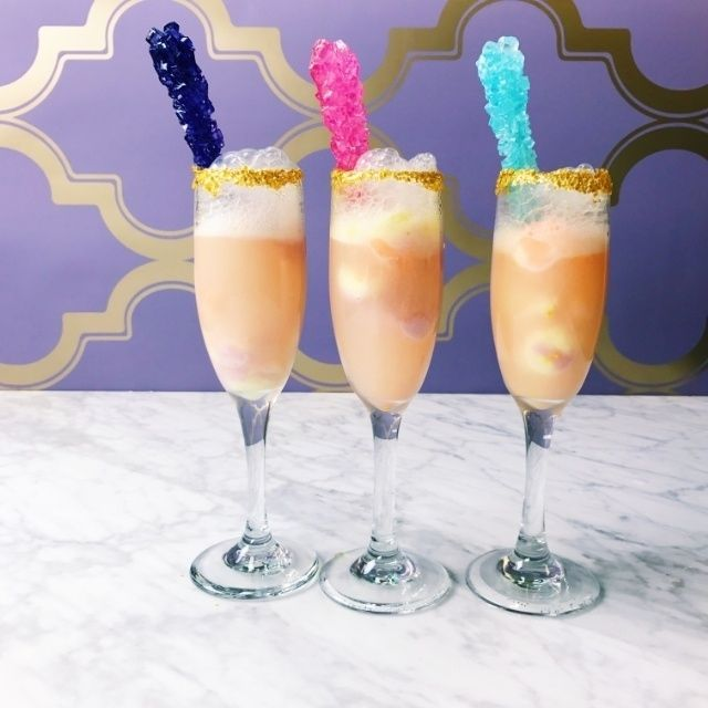 Rock Candy Filled Champagne Glasses: Bachelorette Party Drinks