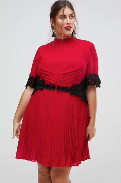 Clothing, Cocktail dress, Dress, Shoulder, Day dress, Red, Joint, Pink, Fashion model, Sleeve,