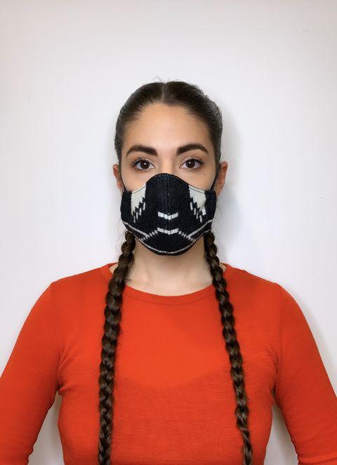 indigenous designer korina emmerich modeling a face mask