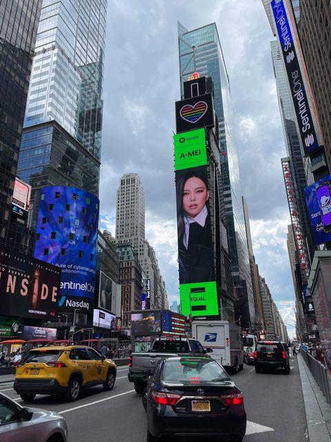 張惠妹登上「紐約時代廣場」巨幕!台灣被 spotify 選為全球性別平等代表