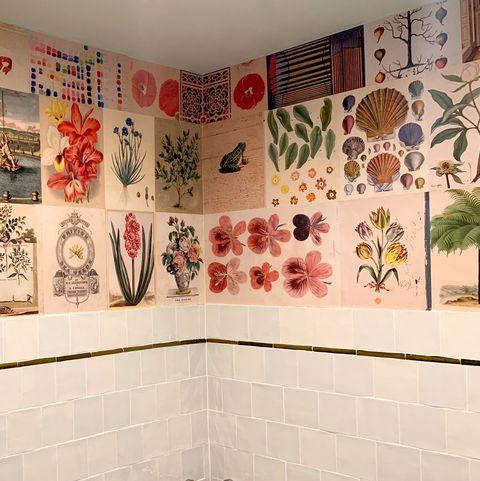 Tile, Room, Wall, Interior design, Textile, Bathroom, Art, Wallpaper, Flooring, Visual arts,