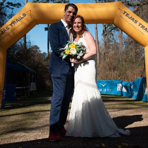 Bride, Photograph, Dress, Gown, Yellow, Facial expression, Blue, Wedding dress, Ceremony, Wedding,