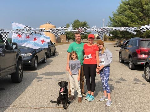 erika sahlman with her family at the end of her race