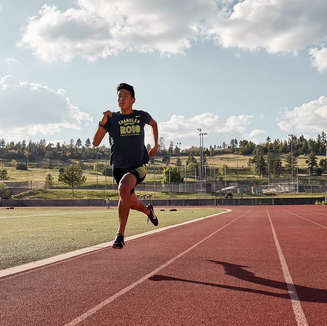 running sprint workout at a track