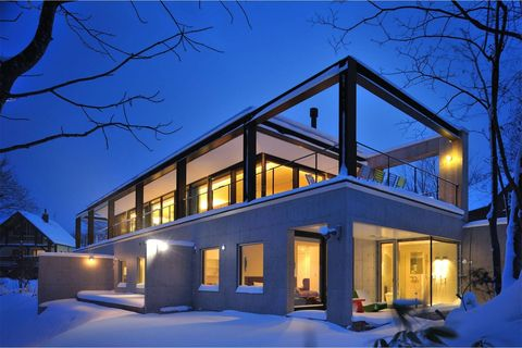 Home, House, Property, Architecture, Building, Winter, Blue, Lighting, Residential area, Real estate,