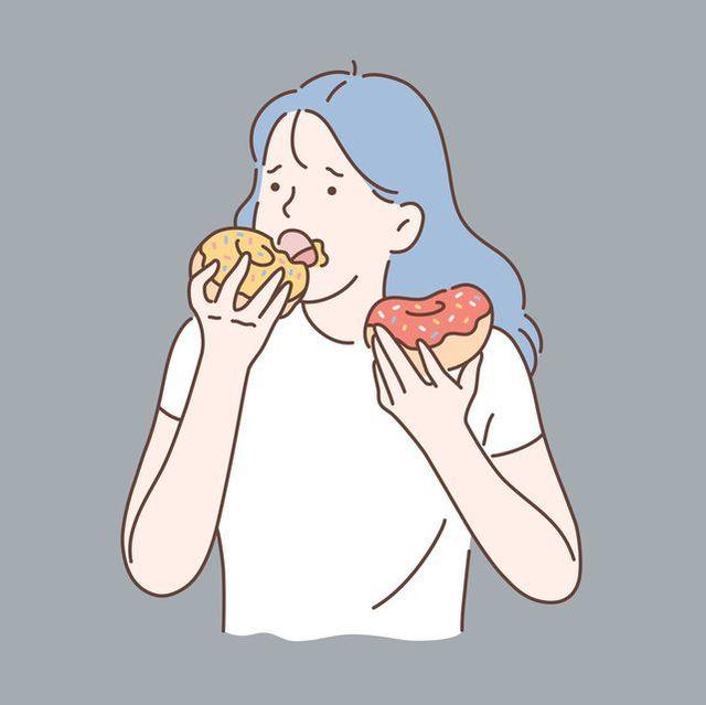 healthy diet or junk food concept 壓力 大吃 肥胖