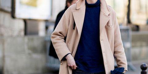Clothing, Outerwear, Coat, Street fashion, Jacket, Blazer, Overcoat, Fashion, Sleeve, Collar,