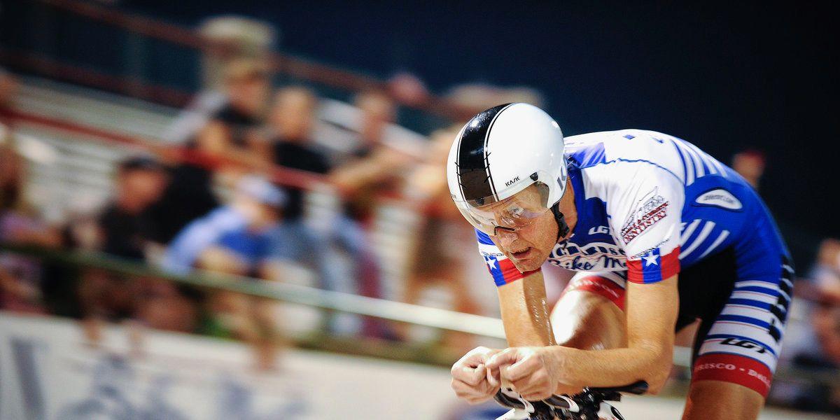 Rider on the Dallas area velodrome