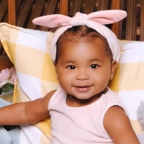 961413db7 image. Instagram. True Thompson celebrated Easter 2019 by dressing up in a  cute pink outfit ...