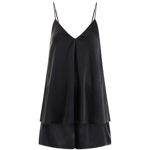 Clothing, Black, Dress, camisoles, Cocktail dress, Neck, A-line, Outerwear, Satin, Little black dress,