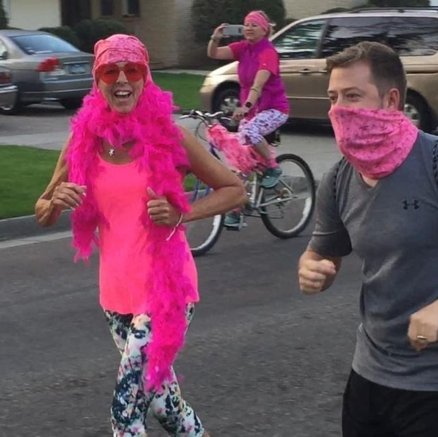 kim skarphol runs with her group to her chemotherapy session in fargo, north dakota