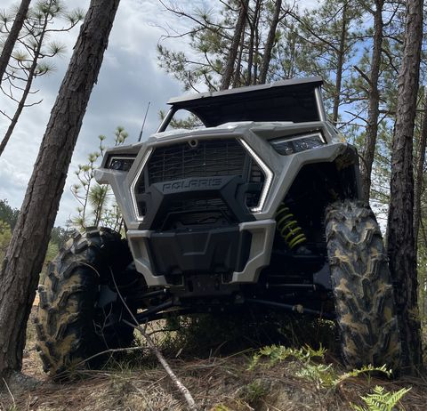 rzr trail hugging between two trees