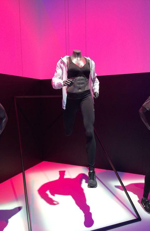 Magenta, Pink, Purple, Violet, Knee, Tights, Mannequin, Costume design, Fashion design, Latex clothing,